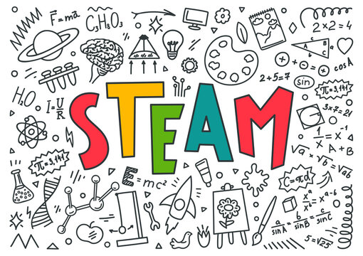 "STEAM. Science, technology, engineering, art, mathematics. Education doodles and hand written word ""STEAM"""