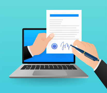 Electronic signature in flat style. Flat infographic. Phone icon vector. Digital background. Electronic signature.