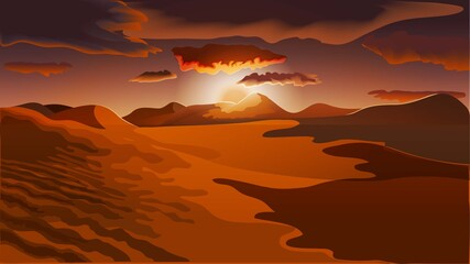 Modern flat red orange desert landscape