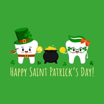 St Patrick day tooth in leprechaun costume, cauldron and in clover glasses with coin. Dental teeth irish character on dentist greeting card. Flat design cartoon vector Happy paddy's day illustration.