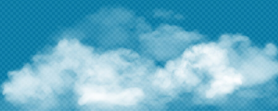 Realistic white cumulus clouds on transparent background. Vector illustration of 3d smoke or fog. Natural mist design element for banner, poster, web, weather forecast