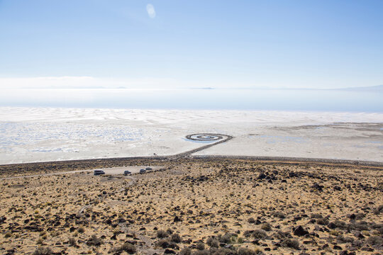 Aerial view of Spiral Jetty against blue sky during sunny day