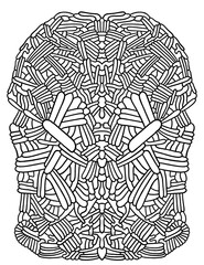 Abstract black and white coloring illustration - fancy symmetrical mosaic - fototapety na wymiar