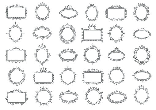 Cute princess frames. Elegant frame with crown, hand drawn round and rectanglular border vector set