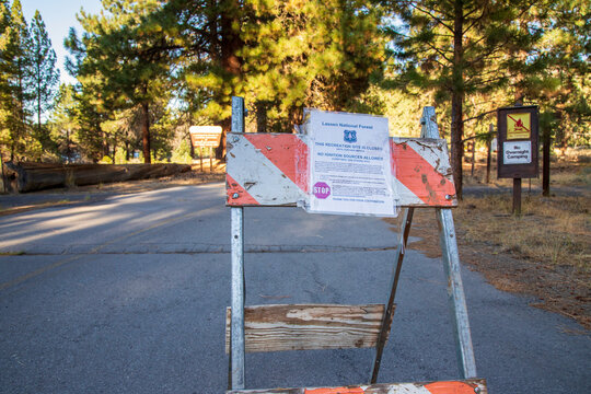 SUSANVILLE CALIFORNIA - JUNE 6, 2020 - Barricade and closure sign marking closure of day use area at Eagle Lake due to fires throughout California.