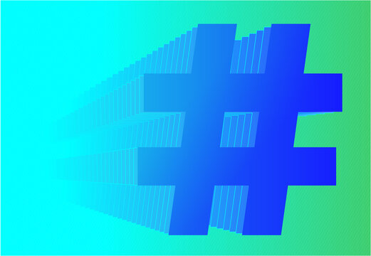 Blue  Hashtag Symbol with Repeated Outline Creating a 3D Effect, Digital Marketing Vector Illustration