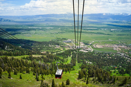 Aerial Tram with Jackson Hole valley and Teton Village below