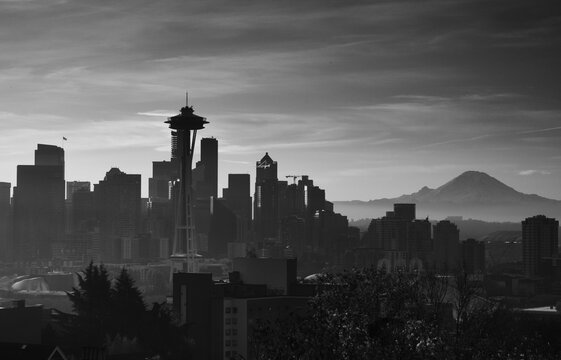 Downtown Seattle Sunrise with the Space needle, and Mount Rainier.