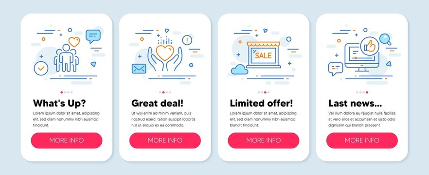 Set of Business icons, such as Hold heart, Sale, Friendship symbols. Mobile screen mockup banners. Like video line icons. Care love, Shopping store, Trust friends. Thumbs up. Hold heart icons. Vector