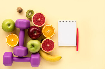 Healthy products for women, sports equipment and dietary notepad, flat lay