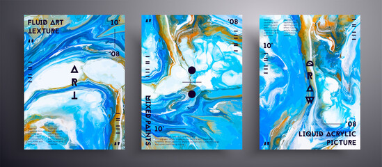 Obraz Abstract liquid poster, fluid art vector texture collection. Trendy background that can be used for design cover, poster, brochure and etc. Blue, white and orange unusual creative surface template - fototapety do salonu