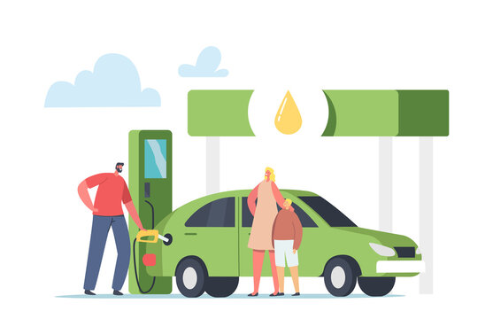 Worker Pump Eco Petrol, Gasoline for Charging Auto to Woman with Child. Character Refueling Car with Biofuel on Station