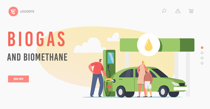 Biogas and Biomethane Landing Page Template. Worker Pumping Eco Petrol, Biodiesel Filling Auto to Woman with Child