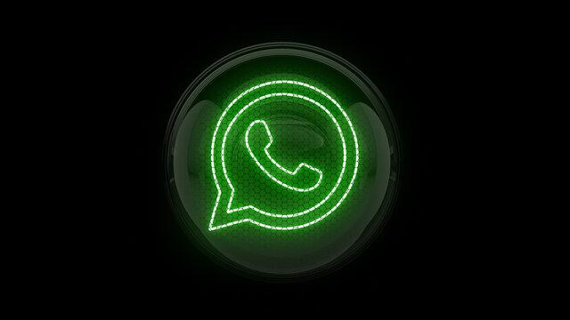 Whats App. Whatsapp logo in gas discharge indicator. 3D. 3D rendering.