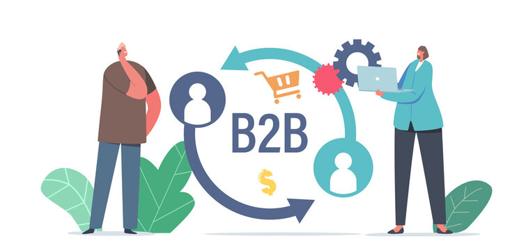 Businessman and Businesswoman Characters Business to Business Marketing Strategy, B2B Solution Concept, Partnership