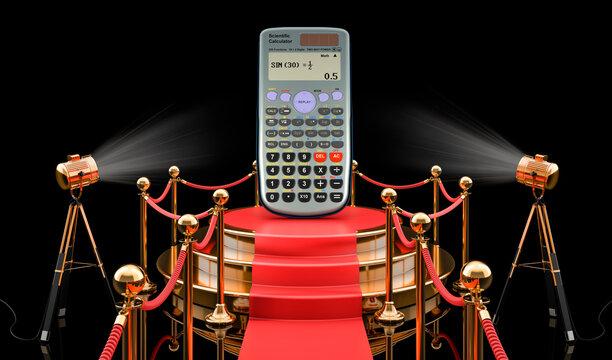 Podium with scientific calculator, 3D rendering