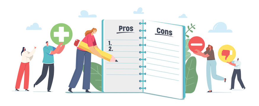 People Make Important Decision. Tiny Male and Female Characters at Huge Notebook Sheet Writing Pros and Cons in Column