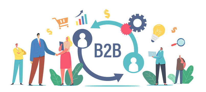 B2B, Business to Business Partnership Collaboration Concept. Businessman and Businesswoman Shaking Hands, Cooperation