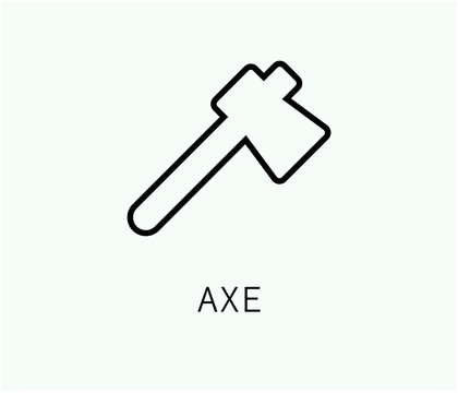 axe vector icon.  Editable stroke. Linear symbol for use on web and mobile apps, logo, Print media. Line illustration. Vector isolated on white  background