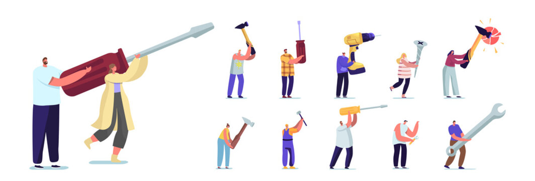 Set of People with Hand Instruments. Tiny Male and Female Characters Holding Huge Tools Screwdriver, Hammer and Wrench