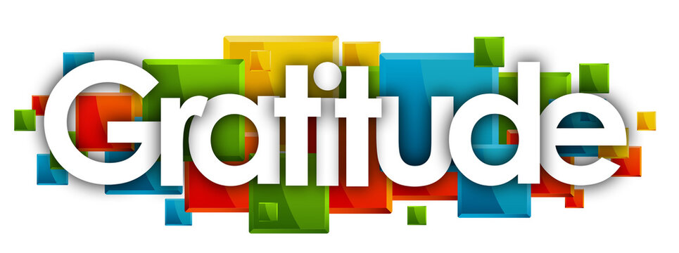 gratitude in colored rectangles background
