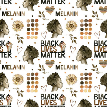 Black Lives Matter illustration. Watercolor seamless pattern with a brown strong fist, African woman, hearts, sunflower.