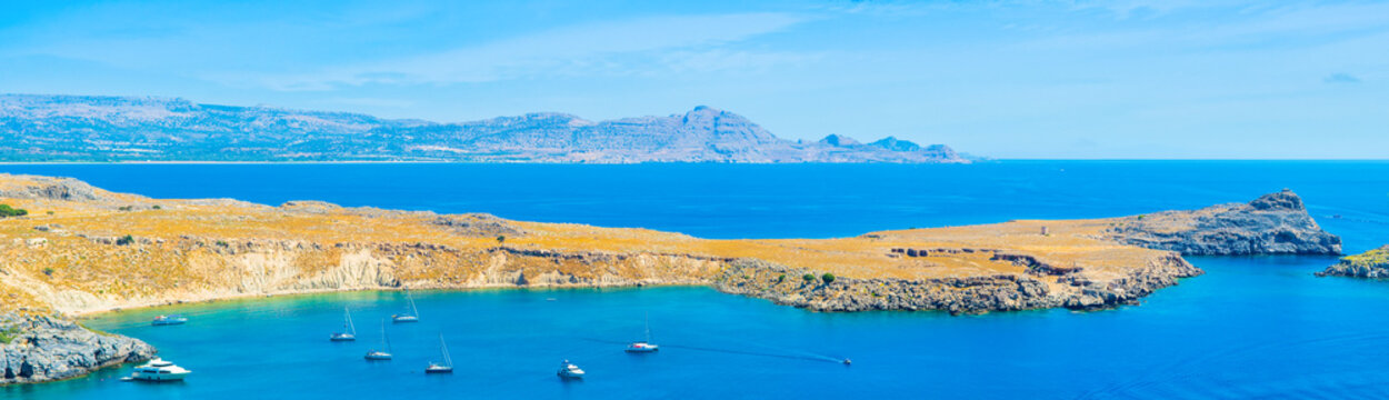 Lindos Bay on the Rhodes island, Greece