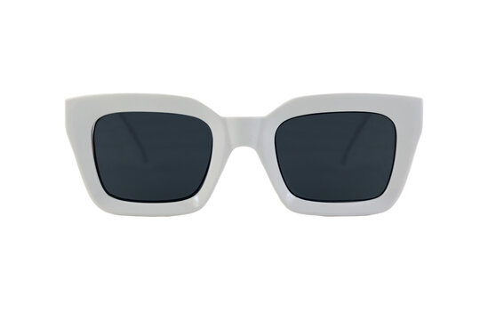 White colored bold square horn rimmed sunglasses with blue matte lenses and thick frames isolated on white background. Front view.