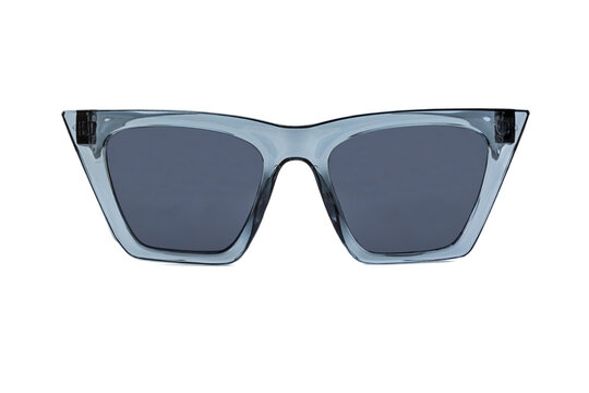 Blue bold square wayfarer horn rimmed sunglasses with blue matte lenses and thick frames isolated on white background. Front view.