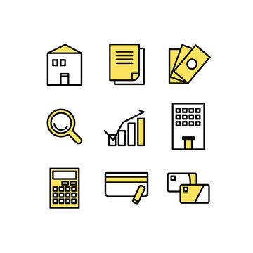 住宅ローンや審査のアイコン素材セット