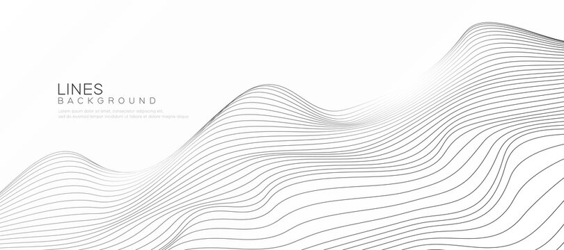 Abstract wave lines. Elegant background with flowing wave lines on isolated white background. Vector