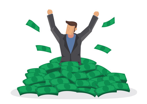 Happy rich man with big heap of stacked money.
