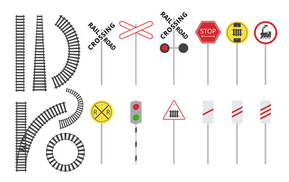 Train railroad sign set - isolated rail tracks and warning road signs