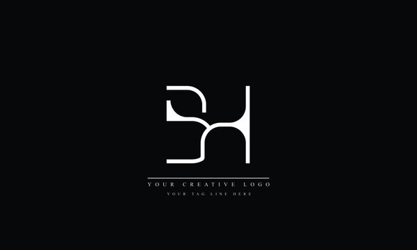 BH HB B H abstract vector logo monogram template