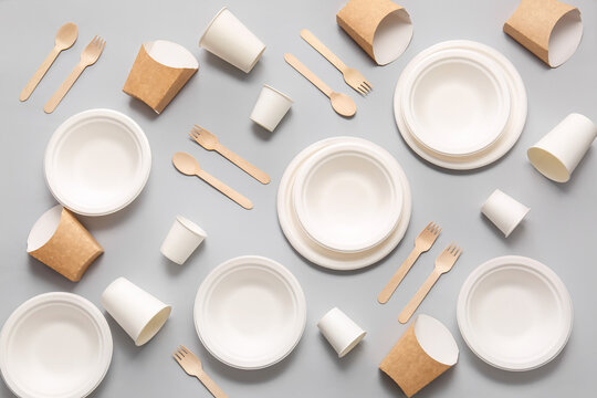 Eco tableware on light background