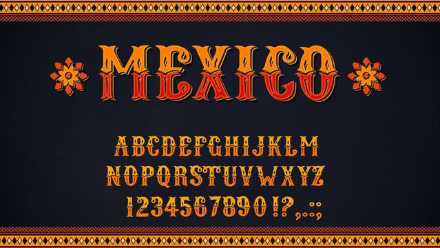 Mexican font of vector alphabet letters and numbers. Mexico ethnic type of uppercase characters, digits and punctuation marks, decorated with marigold flowers and Latin American folk patterns