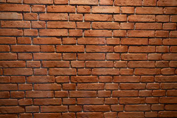 ceglana ściana, z czerwonej palonej starej rustykalnej cegły