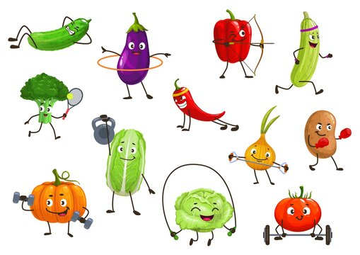 Vegetables sportsmen, isolated vector broccoli, squash and onion, potato, bell pepper and eggplant with chili or pumpkin. Tomato, cucumber cartoon veggies healthy lifestyle and sport cartoon icons set