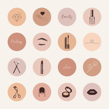 Beauty, makeup social media highlight covers