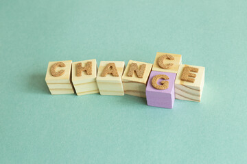 Wood block. Word change to chance. Opportunity, development concept