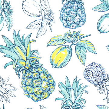 Seamless pattern with pineapple and lemon fruit with leaves in blue, yellow colors. Watercolor hand drawn painting illustration isolated on white background.