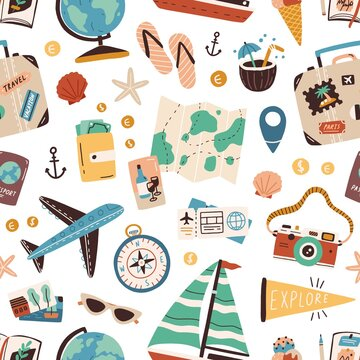 Seamless pattern with touristic stuff like passport, suitcase, globe, compass, plane and map. Endless texture about travel and tourism. Colored flat vector illustration isolated on white background