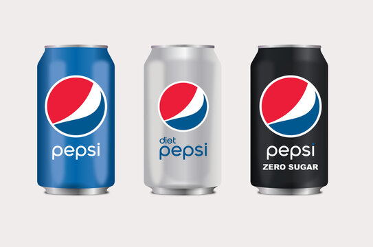 Vector illustration of variant Pepsi can isolated on white background for editorial use.