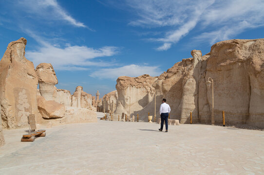 Lonely male tourist at Al Qarah Mountain