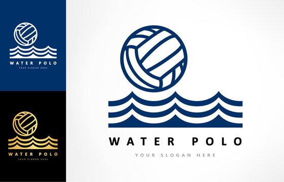 Water polo logo vector. Ball and wave. Sport design.