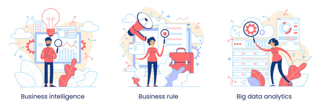 Enterprise strategy development concept. Big data analytics. Business Intelligence. Business rule. Data management abstract metaphor. Vector illustration set. Application software.