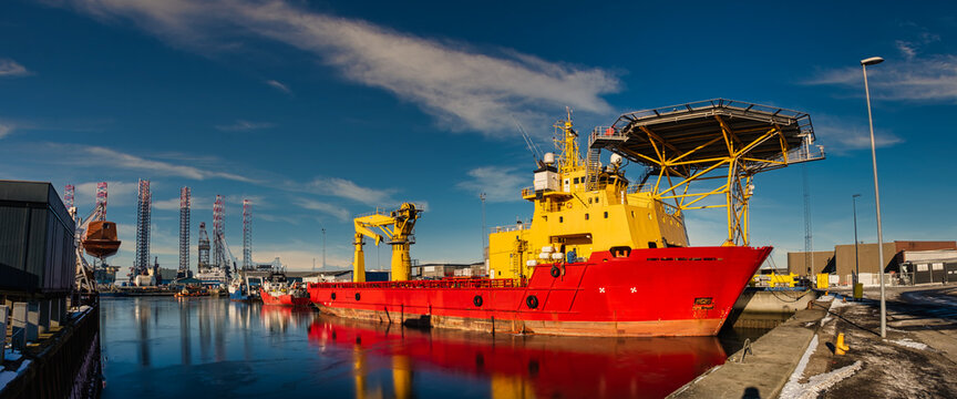 Rescue oil and wind service ship in Esbjerg harbor, Denmark