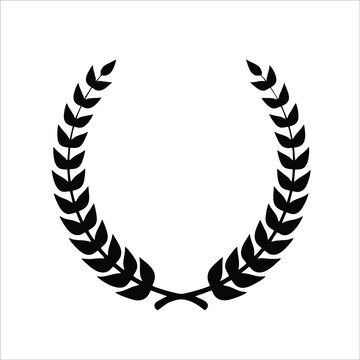 A different collection of black and white circular bay leaf silhouettes, a wheat wreath depicting awards, achievements, insignia, glory. Vector illustration.