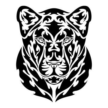 Hand drawn abstract portrait of a lioness. Vector stylized illustration for tattoo, logo, wall decor, T-shirt print design or outwear. This drawing would be nice to make on the fabric or canvas.