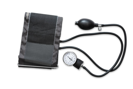 A sphygmomanometer, or tensiometer, used to measure the blood pressure, isolated on white background